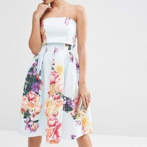 Asos fold over bandeau - Mini prom dress in floral